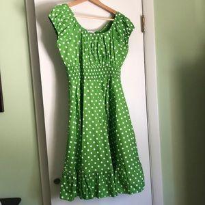 Green Polka Dot Peasant Dress